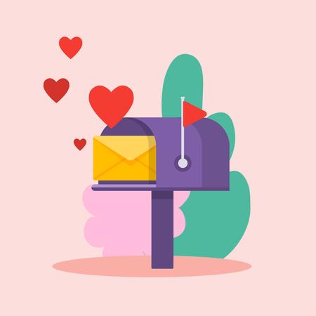 Carta de amor y corazones rojos. Plantilla de vector de boletín en línea con buzón. Ilustración de vector