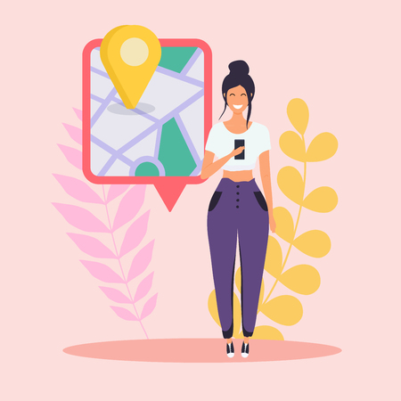 Woman holding mobile smart phone with gps app. Map on smart phone. Navigation concept. Flat design modern vector illustration concept. Illustration