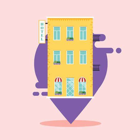 Concept of hotel search. ind hotel on city map. Flat design style modern vector illustration concept.