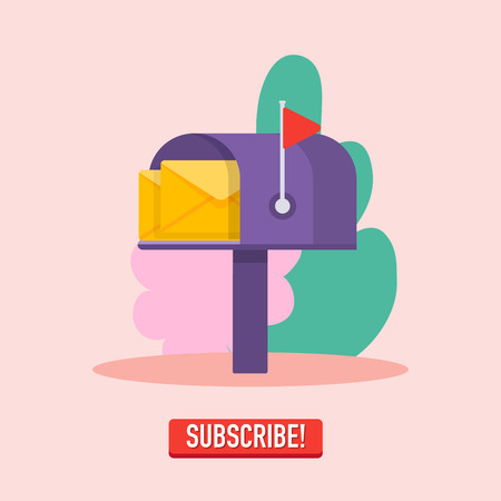 Email subscribe, mailbox and submit button. Online newsletter vector template.