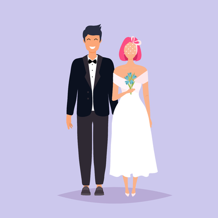Bride and groom. Wedding design over grey background. Vector illustration.