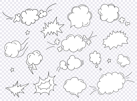 Comics pop art style blank layout template with clouds beams. Concept vector for web and mobile applications.