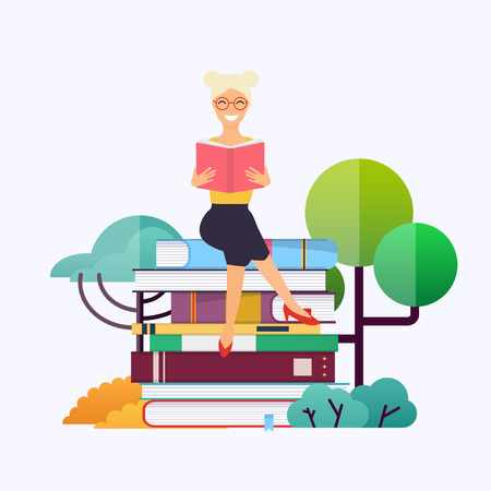 Woman sitting on books and reading. Concept for website and mobile website development of education.