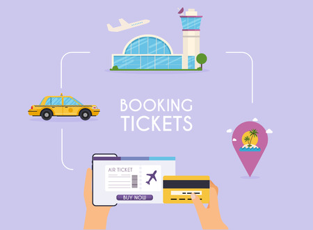 Online booking ticked. Buy Ticket Online. Traveling on airplane, planning a summer vacation, tourism and journey objects and passenger luggage. Illustration