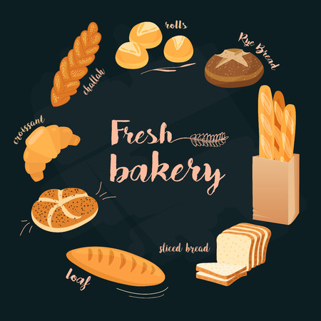 Fresh bakery. Set of cartoon food: bread, bread, buns, croissant, loaf. Vector illustration, isolated on white.