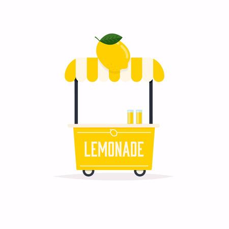 Carrello porta limonata. Carrello del cibo di strada. Illustrazione di vettore. Vettoriali