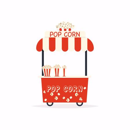 Pop corn stand cart. Street food cart. Vector Illustration.