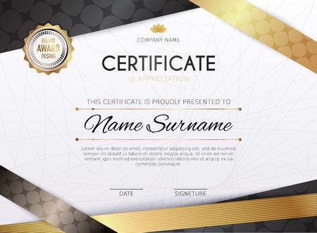 Certificate template with golden decoration element. Design diploma graduation, award. Vector illustration. Ilustração