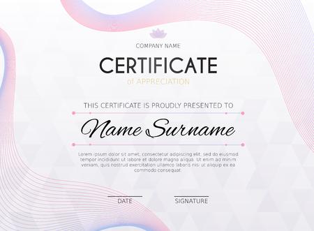 Certificate template with decoration element. Design diploma graduation, award. Vector illustration.