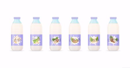Classic milk bottles with Different variation of plant based milk. Nuts set: hazelnut, coconut, almond, soy bean, oat, cashew.. Flat design modern vector illustration concept. Illustration