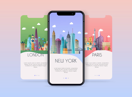 Onboarding screens user interface kit for mobile app templates concept of travel and ticket booking. Concept for web banners, websites, infographics. Illustration