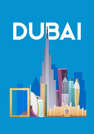 Dubai. Skyline and vector landscape of buildings and famous landmarks.
