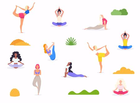 Woman in various poses of yoga. Shapes of woman doing yoga fitness workout. Can be used as a pattern. Set of yoga positions. Illustration