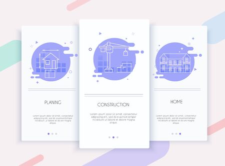 Onboarding screens user interface kit for mobile app templates concept of planing, construction and home buildind. Concept for web banners, websites, infographics.