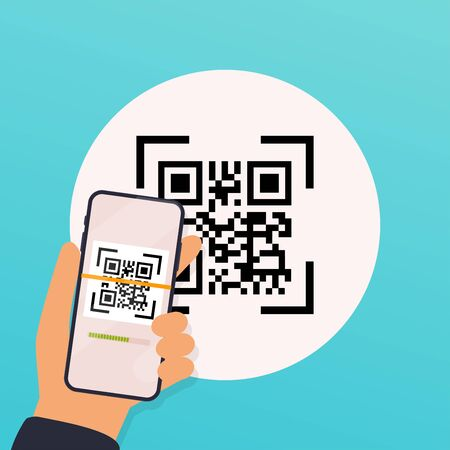 Scan QR code  to Mobile Phone. Electronic , digital technology, barcode. Vector illustration.