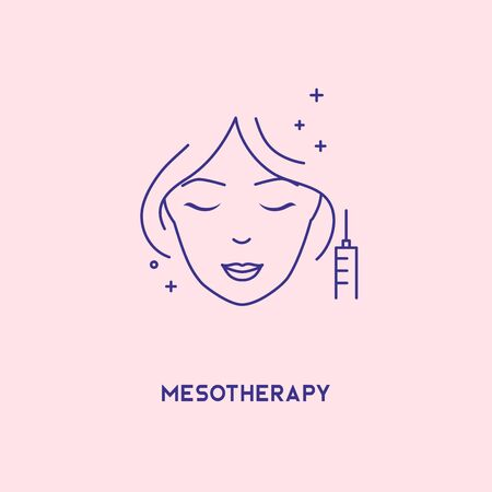 Face mesotherapy line icon. Hyaluronic acid facial injection, vector banner design template. Female rejuvenating mesotherapy.