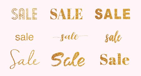Set of gold glitter sparkling sale letters for flyer, poster, shopping, for sale sign, discount, marketing, selling, banner, web, header.