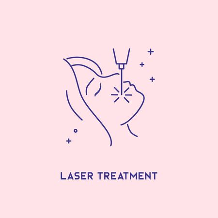 Laser treatment icon. Cosmetology concept. Facial laser hair removal, depilation. Archivio Fotografico - 127792090