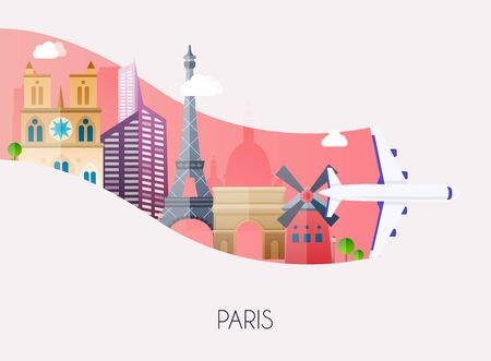 Travel to Paris. Traveling on airplane, planning a summer vacation, tourism and journey objects and passenger luggage. Flat design modern vector illustration concept.