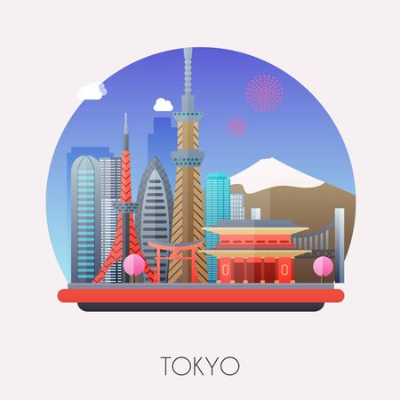Travel to Tokyo. Traveling on airplane, planning a summer vacation, tourism and journey objects and passenger luggage. Flat design modern vector illustration concept. Stock Illustratie