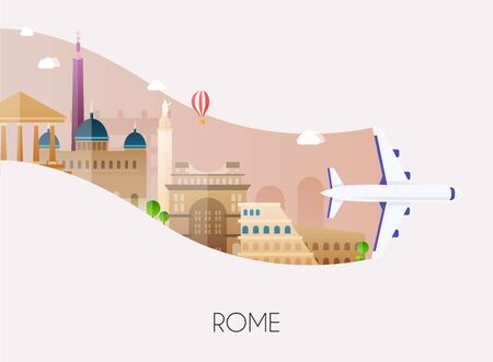 Travel to Rome. Traveling on airplane, planning a summer vacation, tourism and journey objects and passenger luggage. Flat design modern vector illustration concept.