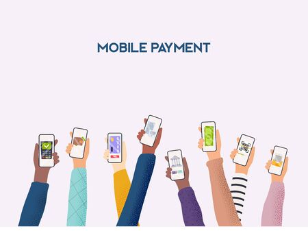 Hands holding phones with differed type of payment. Flat design vector illustration concepts of online payment methods. Internet banking, online purchasing and transaction, electronic funds transfers.