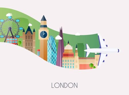 Travel to London. Traveling on airplane, planning a summer vacation, tourism and journey objects and passenger luggage. Flat design modern vector illustration concept. Archivio Fotografico - 128575000