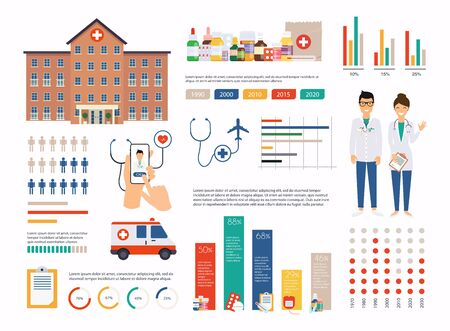 Medical infographic elements vector design template.  Can be used for info graphics, graphic or website layout vector, numbered banners, diagram. Vector illustration.