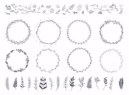 Floral ornament frames. Hand drawn ornamental borders, Decorative leaves frame.