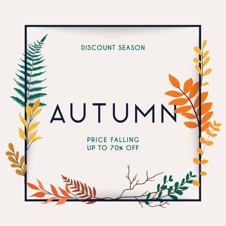 Discount season. Sale. Autumn leafs on the background. Flat design modern vector illustration concept.