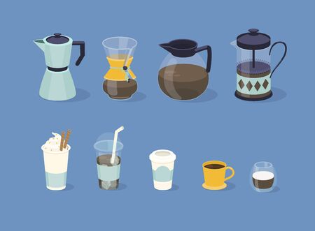 Different types of coffee in  paper and glass cup. Vector illustration.