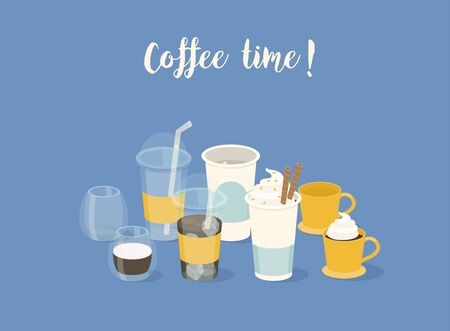 Coffee time banner. Different types of coffee in  paper and glass cup. Vector illustration. Stock Illustratie