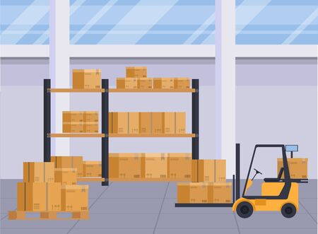 Warehouse interior with boxes on rack. Logistic background and objects.