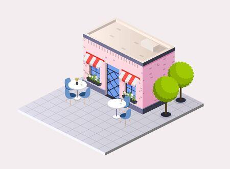 Vector isometric restaurant cafe with  outdoor tables. Illusztráció