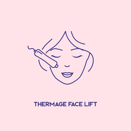 Thermage face lift. Cosmetology concept. Facial laser hair removal, depilation.