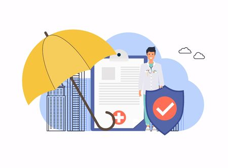 Health insurance. Big clipboard with document on it under the umbrella. Flat design modern vector illustration concept.