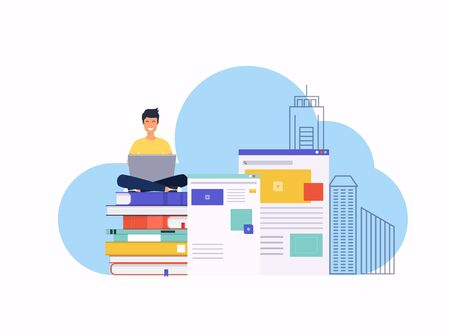 Man with a laptop. Creation of web design for site concept. Can use for web banner, infographics, hero images. Flat design modern vector illustration concept.