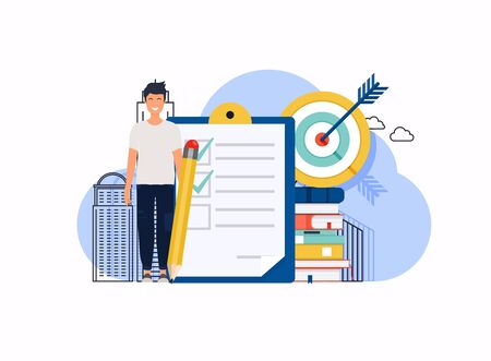 Man with pencil marked checklist on a clipboard paper. Can use for web banner, infographics, hero images. Flat design modern vector illustration concept.