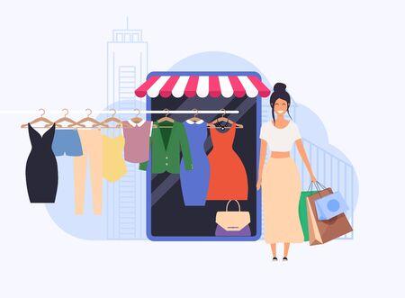 Young woman shop online using smartphone. Flat design modern vector illustration concept.