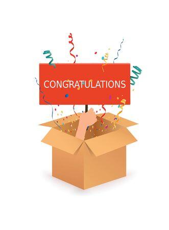 Hand holding sign Congratulation. Open box with confetti explosion inside. Ilustração