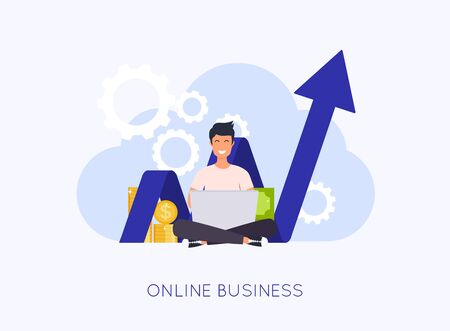 Online business concept. Man with laptop create your own business. Can use for web banner, infographics, hero images. Flat design modern vector illustration concept.
