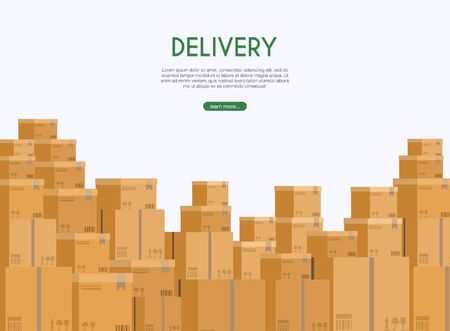 Boxes in stock of a delivery service depicted.  Vector modern flat creative info graphics design on  application.