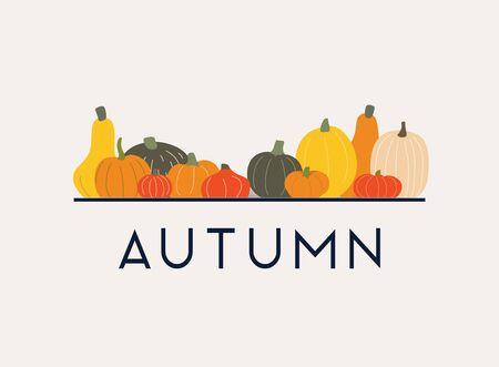 Autumn. Pumpkins on the background. Flat design modern vector illustration concept. Ilustração