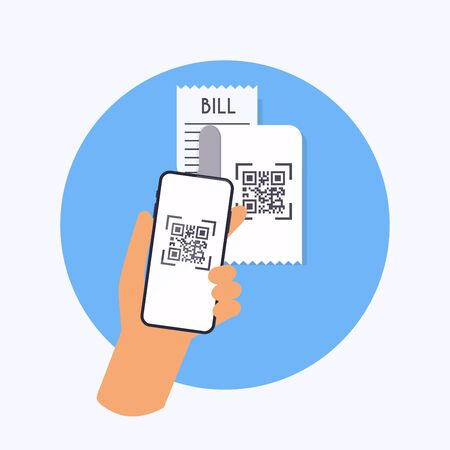 QR code verification. Scan QR code to mobile phone from bill. Electronic, digital technology, barcode. Vector illustration.