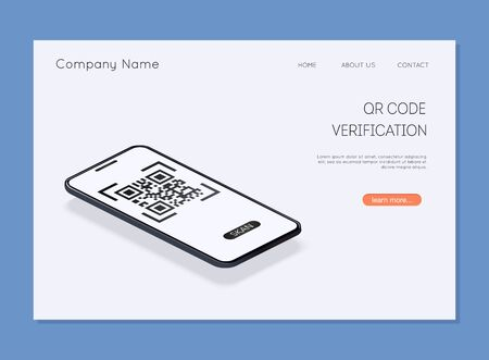 QR code verification. Scan QR code to mobile phone. Electronic, digital technology, barcode. Vector illustration.