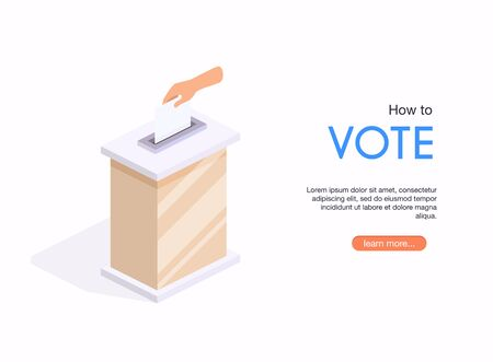 Isometric hand put voting paper in the ballot box. Election Day.