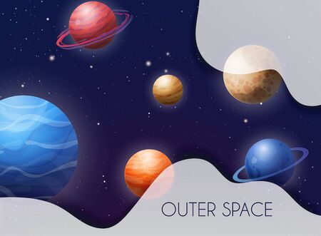 Space background with planets solar system. Vector illustration. Illusztráció