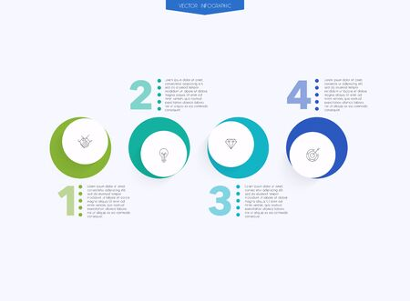Vector info graphics for your business presentations. Can be used for website layout, numbered banners, diagram, horizontal cutout lines, web design. Ilustração