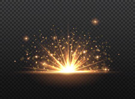Transparent Golden Glow light effect. Copper lights effects. Sparkle and glitter. Vector illustration. Ilustração