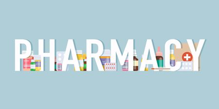 Pharmacy background. Medical pills and bottles. Medical concept. Flat design style modern vector illustration concept.